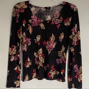 LINQ silk and cashmere floral sweater w/ beading.